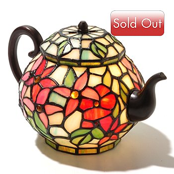 431-043 - Tiffany-Style 6.5'' Pentas Stained Glass Teapot Accent Lamp