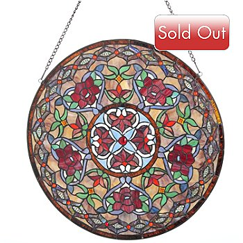 431-175 - Tiffany-Style 24'' Parisian Stained Glass Window Panel