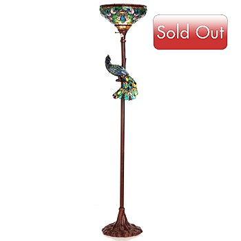 431-185 - Tiffany-Style 68'' Pleasure Peacock Torchiere Stained Glass Floor Lamp