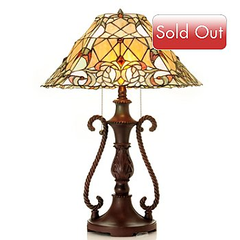 431-188 - Tiffany-Style 23.25'' Braided Laurel Stained Glass Table Lamp