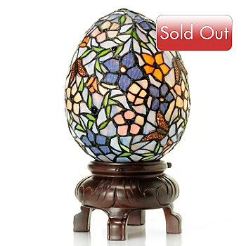 431-193 - Tiffany-Style 12'' Impatiens Stained Glass Butterfly Egg Accent Lamp