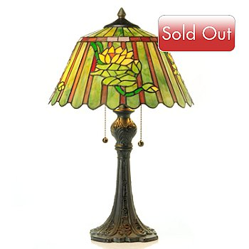 431-312 - Tiffany-Style 22'' Egyptian Water Lily Stained Glass Table Lamp