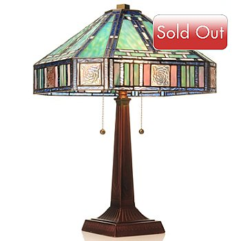 431-316 - Tiffany-Style 22.5'' Marbelline Mission Style Stained Glass Table Lamp