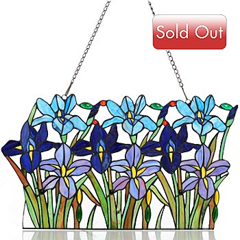 431-319 - Tiffany-Style 14'' x 24'' Field of Irises Stained Glass Panel