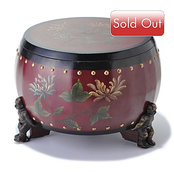 431-408 - Style at Home with Margie 9.64'' Tabora Hand Painted Drum Stool