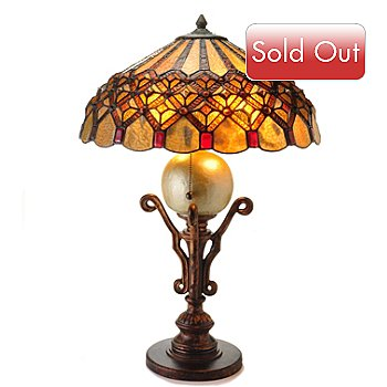 431-826 - Tiffany-Style 26'' Bordeaux Diamond Stained Glass Table Lamp