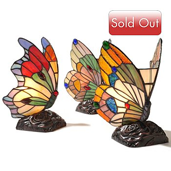 431-841 - Tiffany-Style Set of Three 9.5'' Butterfly Stained Glass Accent Lamps