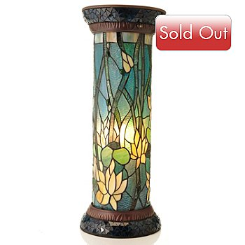 431-843 - Tiffany-Style 26.5'' Grand Lotus Stained Glass Pedestal Lamp