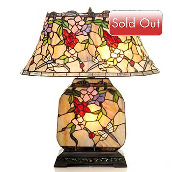 431-913 - Tiffany-Style 22.25'' Visions of Crimson Double Lit Stained Glass Table Lamp
