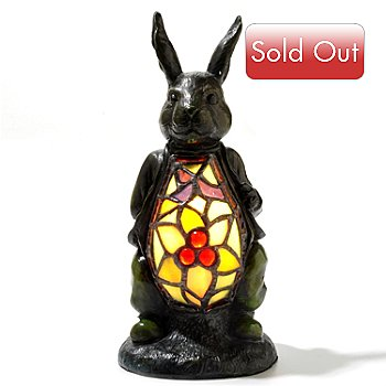 431-922 - Tiffany-Style 9.5'' Razzle Dazzle Stained Glass Rabbit Accent Lamp