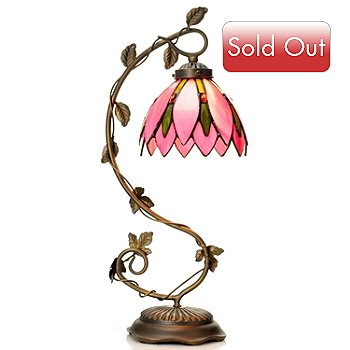 431-928 - Tiffany-Style 21.25'' Pretty In Pink Stained Glass Table Lamp