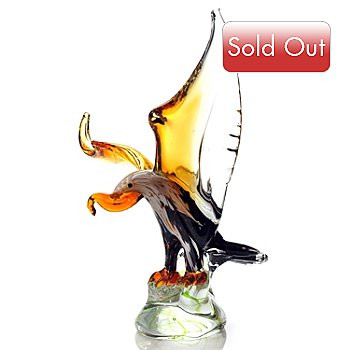 432-383 - Favrile 13.75'' Hand-Blown Art Glass Eagle Sculpture