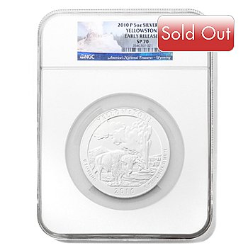 432-411 - 2010 5 oz Silver SP70 Early Release NGC ''America the Beautiful'' Yellowstone Coin