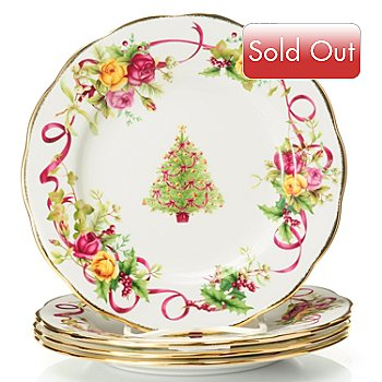 432-553 - Royal Albert® Old Country Roses 8'' Holiday Bone China Set of Four Salad Plates