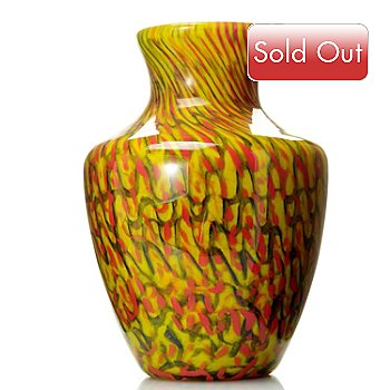 432-576 - Favrile Jasper 14'' Hand-Blown Art Glass Bulbous Vase