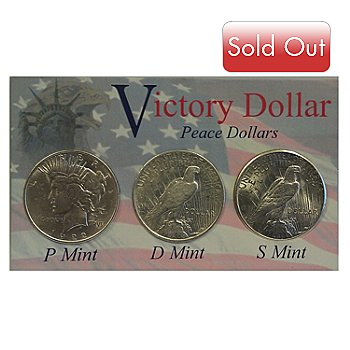 433-164 - 1922-1935 Silver BU Set of Three Peace Dollar Coin Set