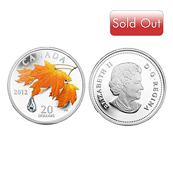 433-760 - Limited Edition 2012 Silver Proof $20 Canadian Sugar Maple Crystal Drop Coin