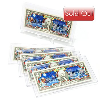434-075 - 1976-2012 Uncirculated $2 Santa Bucks Christmas Scene w/ Display Holder