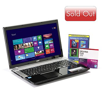 434-339 - Acer Windows 8 Aspire 17.3'' Notebook Intel® Dual-Core i3 6GB RAM/500GB HD w/ Software Suite