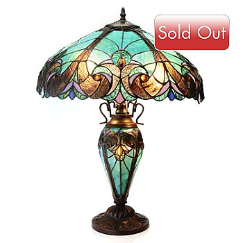 434-682 - Tiffany-Style 24.5'' Halston Double Lit Stained Glass Table Lamp