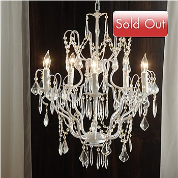 435-030 - Gallery 27'' Tenley Wrought Iron & Crystal Glass Chandelier