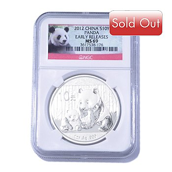 435-055 - 2012 1 oz Silver NGC MS69 ER China Panda 10 Yuan Coin