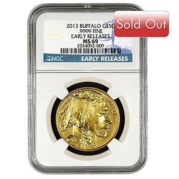 435-827 - 2013 Gold American Buffalo NGC MS69 Early Release $50 Coin