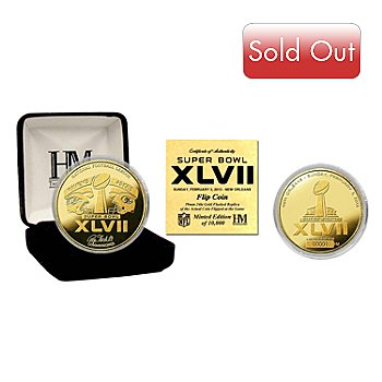 436-250 - Super Bowl® XLVII 2013 24K Gold Plated Replica BU Limited Edition Flip Coin