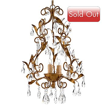 436-489 - Gallery 22'' Victoria 3-Light Wrought Iron & Crystal Glass Chandelier