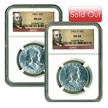 436-643 - 1963 Silver Franklin MS64 NGC Set of Two Half Dollar Coins