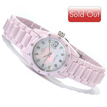 602-273 - Oniss Women's Diamond Ceramica Swiss Quartz Ceramic Case & Bracelet Watch