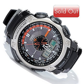 604-658 - Casio Pathfinder Ana-Digi Multi Band 6 Solar Powered Rubber Strap Watch