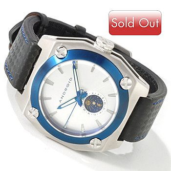 604-741 - Android Men's Silverjet Quartz Sun & Moon Stainless Case Strap Watch