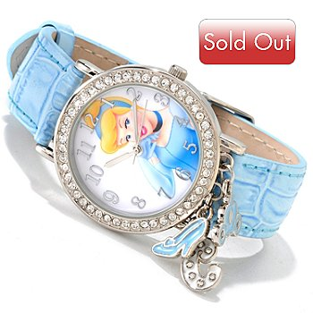 605-235 - Disney Women's Collectible Characters Leather Strap Watch w/ Charms