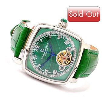 605-796 - Constantin Weisz Women's Automatic Crystal Accented Strap Watch