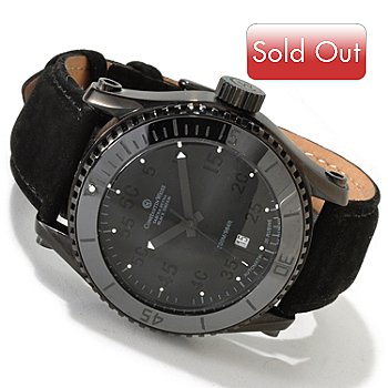 605-837 - Constantin Weisz Men's Automatic Stainless Steel Leather Strap Watch