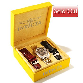 605-874 - Invicta Men's or Women's Lupah Skeleton Mechanical Stainless Steel Bracelet Watch w/ Leather Straps