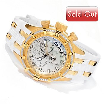 606-178 - Invicta Reserve Women's Bolt Swiss Quartz Chronograph Mother-of-Pearl Dial Polyurethane Strap Watch