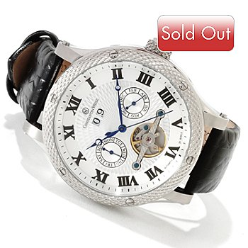 606-204 - Constantin Weisz Men's Automatic Open Heart Exhibition Strap Watch