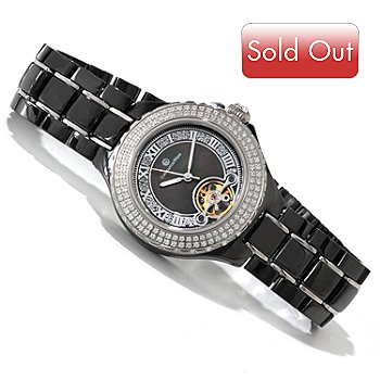 606-358 - Constantin Weisz Women's Automatic Open Heart Ceramic Bracelet Watch