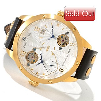 606-360 - Constantin Weisz Men's Dual Automatic Open Hearts Strap Watch
