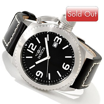 606-465 - Invicta Men's Corduba Quartz Stainless Steel Case Leather Strap Watch w/ Dive Case