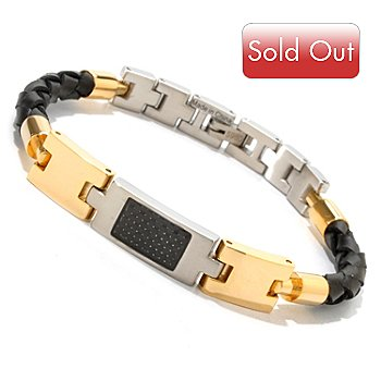606-493 - Invicta Elements Men's 8.50'' Carbon Fiber & Woven Leather Bracelet