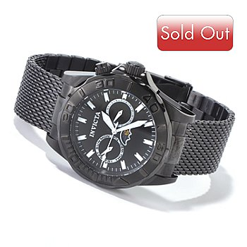 606-667 - Invicta Men's Sea Wizard Quartz Black Stainless Steel Mesh Bracelet Watch
