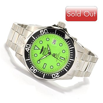 606-680 - Invicta Men's Grand Diver Automatic Lume Dial Stainless Steel Bracelet Watch w/ 3-Slot Dive Case