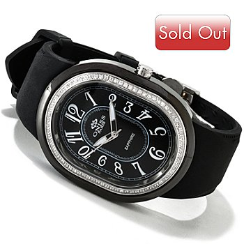 606-788 - Oniss Women's Meduse Quartz Ceramic Case Crystal Accent Silicone Strap Watch