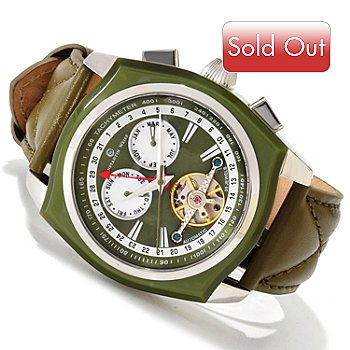606-821 - Constantin Weisz Men's Automatic Mother-of-Pearl Open Heart Strap Watch