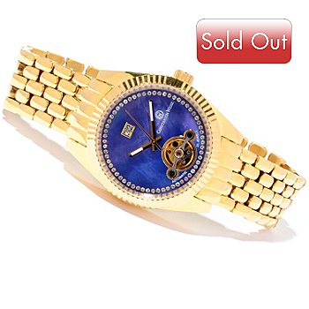 606-822 - Constantin Weisz Women's Automatic Crystal Accented Mother-of-Pearl Bracelet Watch