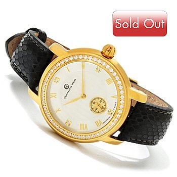 606-838 - Constantin Weisz Women's Crystal Accented Snake Patterned Strap Watch