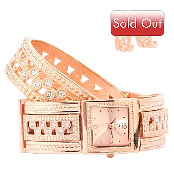 606-941 - Arm Candy by W Women's Crystal Accented Bracelet Watch w/ Earrings & Bangle